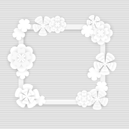 Frame with white embellishment flowers in paper cut technique, vector illustration. Spring floral graphic design elements isolated on gray striped background, for banners, wedding cards, flyers. Banque d'images