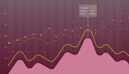 Business data graph chart, diagram vector illustration. Growth company profit economic concept. Trend lines, waves, market economy information background. Banque d'images