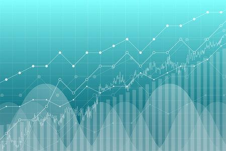 Financial data graph chart, vector illustration. Trend lines, columns, market economy information background. Chart analytics economic concept.