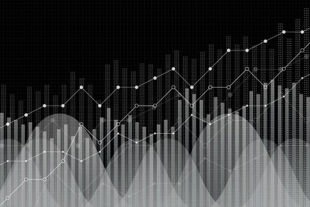 Financial growth, revenue graph, vector illustration. Trend lines, columns, market economy information background. Chart analytics strategy concept, trendy black and white, monochrome style.