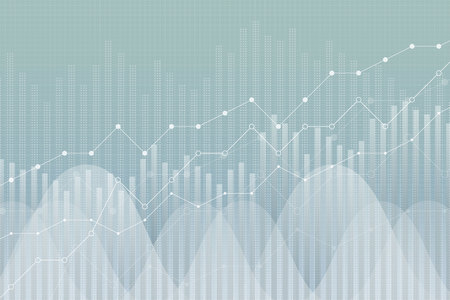 Financial growth, revenue graph, vector illustration. Trend lines, columns, market economy information background. Chart analytics strategy concept.