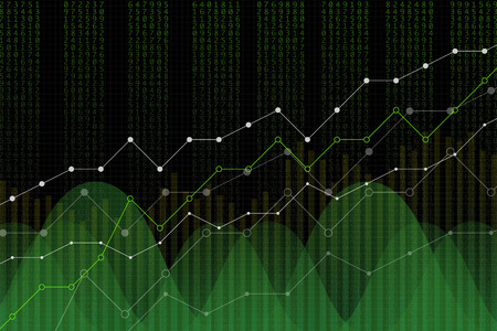 Stock market revenue graph, vector illustration. Green numbers column, uptrend lines, trading screen concept on black background. Digital diagram for revenue growth. Banque d'images