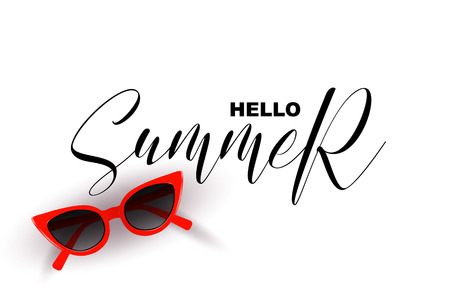 Hello Summer, handwritten calligraphic quote isolated on white background. Realistic red sunglasses, calligraphy letters summer graphic design elements for banners, flyers.