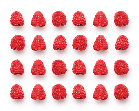 Raspberry berries isolated on white, studio image. Fresh sweet berry background, summer time concept.