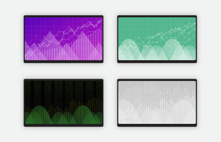 Business data graph charts and diagram on black tablet screen, vector illustration. Trend lines, waves, market economy information set of four tablet screens isolated on white background.