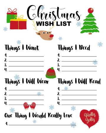 Christmas Wishlist for kids illustration. Cute cartoon hand drawn elements, presents, fir tree, mittens, hat. Holiday card on white background. Christmas Wish List template.
