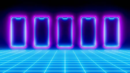Neon smartphones on black futuristic background, blue neon grid, conceptual digital illustration. Futuristic perspective design, glowing ultraviolet effect, technology background.