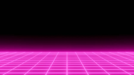 Ping neon grid, futuristic background, front view. Perspective digital poster with space for text, horizontal glowing wallpaper. Banque d'images