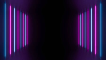 Neon ultraviolet passage, futuristic perspective 3d illustration. Glowing blue and pink geometric shapes, reflection floor, fluorescent effect.