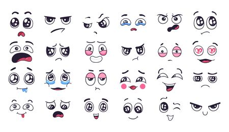 Funny cartoon faces. Face expressions, happy and sad mood. Laughing to tears face, smiling mouth and crying eyes. Doodle different moods vector illustration set. Positive and negative human feelings