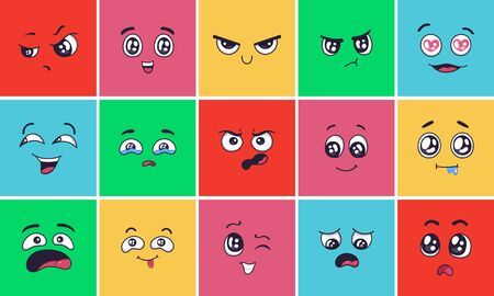 Cartoon face expressions. Surprising look faces, angry mood and doodle head vector illustration set. Cheerful, disappointed and laughing facial expression. Smiling and winking emoticons