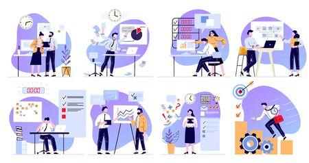 Organized office work. Task planner, time management and working productivity. Tasks deadline schedule flat vector illustration set. Efficient workflow organization. Teamwork process optimization