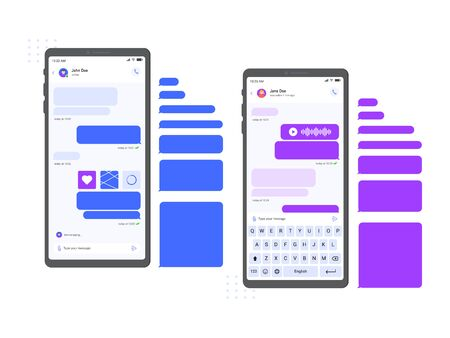 Mobile chat messenger interface. Smartphone messages mockup, chat conversation and online message on phone screen vector illustration. Internet communication, empty speech boxes and keyboard