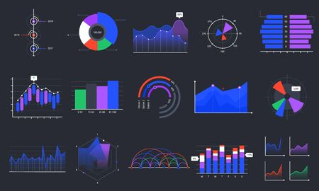 Infographic charts. Colorful data graphs, statistics dashboard chart and analytic presentation graph vector set. Business data visualization, stock market diagram on black background. Sales analysis