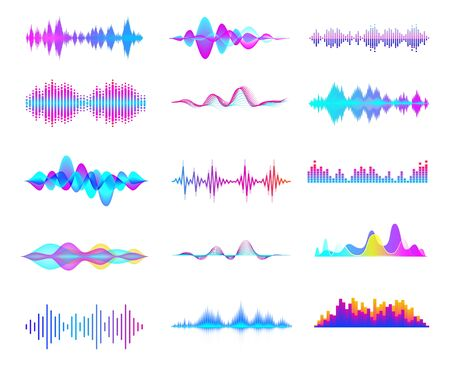 Colorful sound waves. Audio signal wave, color gradient music waveforms and digital studio equalizer vector set. Multicolor audio lines cliparts collection. Soundwaves, radio frequency