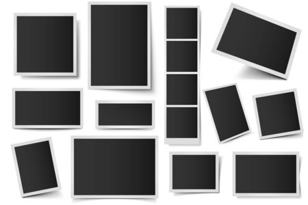 Photo card frames. Rectangular instant photos, square snapshot frame and photo snap with realistic shadow vector set. Empty 3d frames collection. Blank borders isolated on white background Ilustração