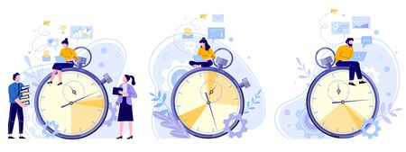 Work rate time management. Working hours timer, productivity timekeeper and team people working on laptop flat vector illustration set. Firm employees cartoon characters sitting on stopwatch