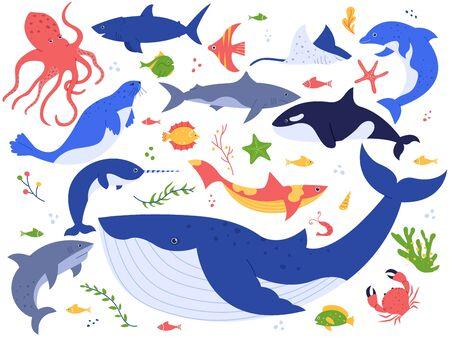 Animaux de l'océan. Poissons mignons, orques, requins et baleines bleues, ensemble d'illustrations vectorielles d'animaux marins et de créatures marines. Algues, algues, étoiles de mer et plantes aquatiques isolées sur fond blanc