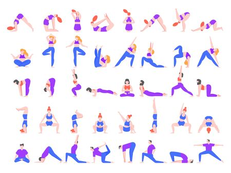 Yoga asanas. Practice in yoga poses, young people train balance, meditate and relax at yoga class vector illustration. Man and woman characters practicing pilates isolated on white background