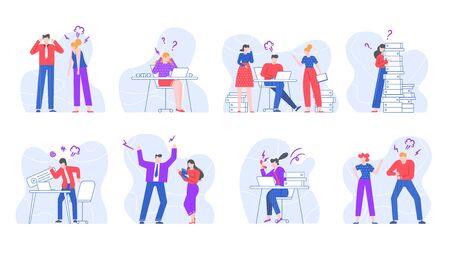 Les gens d'affaires stressés. Crier et crier des employés de bureau, jurer des personnages dans un ensemble d'illustrations vectorielles de l'environnement de bureau. Conflits et différends au travail isolé sur fond blanc Vecteurs