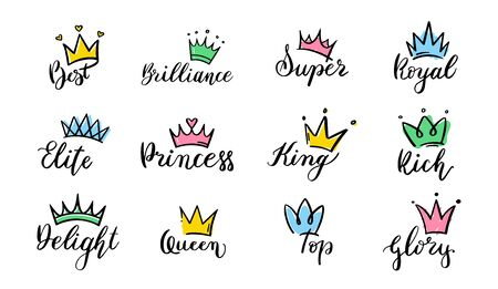 Crown hand drawn lettering. Queen crown icons, calligraphy tiara and colorful diadem vector illustration set. Symbols of royal power pack. Diadem and luxurious decals isolated on white background