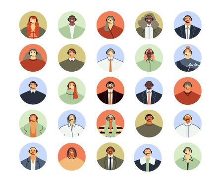 Call center assistant avatar. Client support services, personal phone help assistance and customer support worker profile icon flat vector illustration set. Telephone hotline service operators