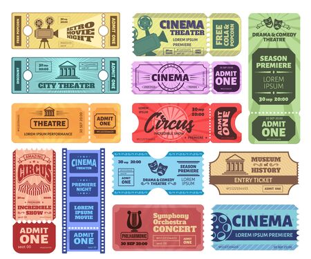 Vintage tickets. Admit one ticket on circus show, cinema movie night admission coupon and theatre tickets vector set. Realistic retro colorful vouchers. Control pass, bright event invitations