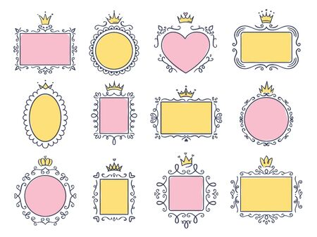 Cute princess frames. Pink mirror frame with princesses crown, majestic hand drawn text borders and royal doodle frame vector set. Collection of maiden boards with victorian diadems and curly elements Vecteurs