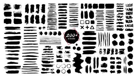 Ink textured brush. Grunge strokes and dirty texture paint splatters. Artistic brush blots, frames and text boxes isolated vector set. Black swatches, stains and smears. Paintbrush, abstract traces