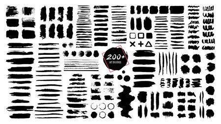 Pincel con textura de tinta. Trazos de grunge y salpicaduras de pintura de textura sucia. Manchas de pincel artístico, marcos y cuadros de texto aislados conjunto de vectores. Muestras, manchas y borrones negros. Pincel, rastros abstractos
