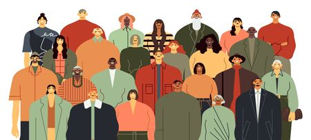 People group. Community portrait, team standing together and diverse people crowd flat vector illustration. Race and age diversity. Multiethnic smiling men and women cartoon characters