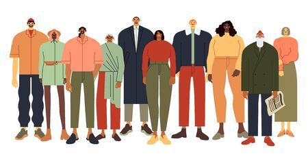 Multi ethnic people group. Persons in casual outfit, diverse people team and adult community flat vector illustration. Smiling cartoon characters of different age and race. Multinational crowd