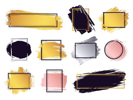 Glamour ink brush frame. Gold frame elements, commercial boxes for text, ink brush stroke border, modern frame design vector isolated set. Collection of geometric frames with glossy ink smears