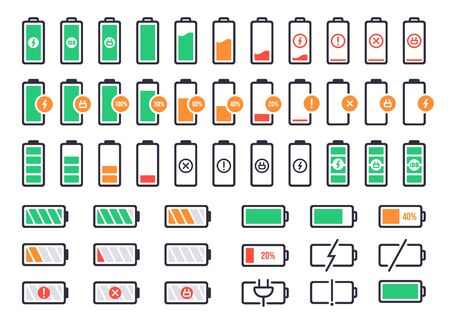 Battery charging logo. Charge power level, smartphone accumulator energy status. Cell phone battery signal indicators vector isolated icons set. Collection of device charge process icons