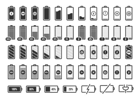 Battery charge symbols. Accumulator energy full and empty status, smartphone charge level UI elements vector isolated icons set. Collection of glyph charge indicators. Gadget charging process Ilustracja