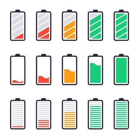 Akkus voll aufgeladen. Energieindikatoren, Ladestände und Akkumulatorenergie voller und leerer Status und Smartphone-Leistungspegel UI-Designelemente Vektor isolierte Symbole gesetzt. Niedriger und hoher Laststatus