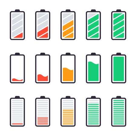 Batteries full charge. Energy indicators, charge levels and accumulator energy full and empty status and smartphone power level UI design elements vector isolated icons set. Low and high load status