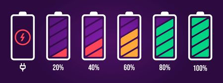 Energy level icon. Charge load, phone battery indicator, smartphone power level, accumulator energy empty and full status vector icons set. Stages of gadget recharging. Charging energy percent