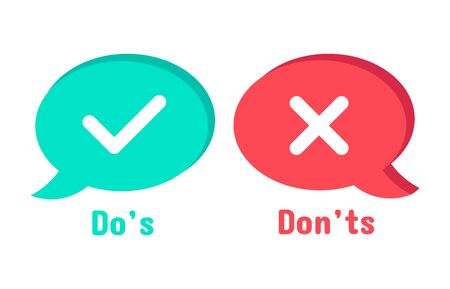 Do and Dont icons. Speech bubble checklist element, yes and no dialogue cloud box. Accept or reject symbol vector icon. Choice options. Right and wrong symbols. Correct and incorrect decision