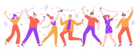 People celebrating. Happy celebration party, joyful women and men celebrating together with balloons and confetti. Dance celebration party vector isolated illustration. Birthday, festive event