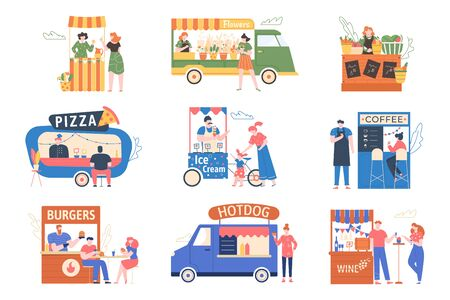 Street market. Outdoor counter fair, tents with food, products, coffee and flowers. Characters buy and sell at the street fair, market street vector illustration set. Pizza, hotdog, burger. Wine kiosk Stock Illustratie