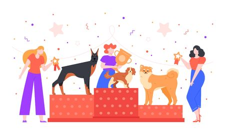 Dog show award. Female owner holding trophy golden goblet, dogs winning prize on pet show, dogs exhibition and pedestal rewarding colorful vector illustration. Pet owners characters competition Illustration