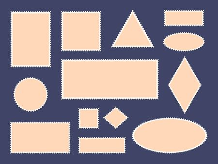 Postcard stamp frames. Postage stamps border, empty paper postcards and mail office stamp frames, philatelic cards vector isolated icon set. Blank envelope postal square, triangle stickers collection