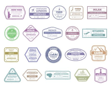 Vintage passport stamp. Airport cachet mark, passport visa international arrived stamps. USA, UK, France, Italy, Japan and Spain air boarder stamp frames vector isolated set. Travel airport signs