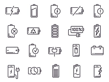 Powered charge icon. Battery charging, smartphone power level, electric charge station and recycle line art elements for UI design vector isolated icons set. Battery life indicator pictograms