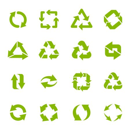 Recycle arrows. Garbage circular, triangle and square recycling icons, eco protection elements and recycled eco sign vector isolated icons set. Waste disposal alternative. Sustainable resource use Vektoros illusztráció