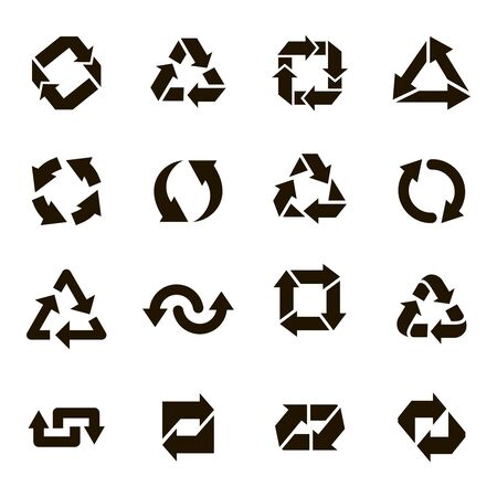 Recycle round icons. Recycling arrow sign, organic ecology protection elements, environmental conservation vector isolated icons set. Waste management label. Sustainable solution. Pollution prevention