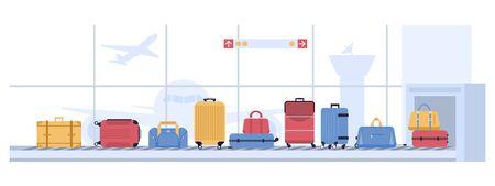 Carrusel de equipaje del aeropuerto. Escaneo de maletas de equipaje, cinta transportadora de equipaje con bolsas y maletas. Transporte de vuelo de la aerolínea, ilustración de vector de inspección de punto de control de rayos x del aeropuerto