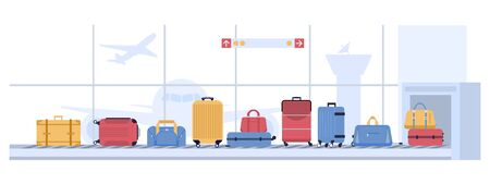 Luggage airport carousel. Baggage suitcases scanning, luggage conveyor belt with bags and suitcases. Airline flight transportation, airport x ray checkpoint inspection vector illustration Illusztráció