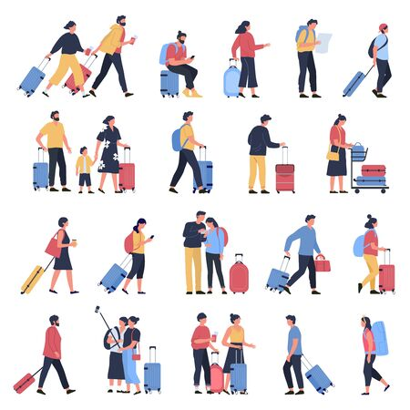 Travelers at airport. Business tourists, people waiting at airports terminal with luggage, characters walking and hasting to boarding. Airplane flight passengers isolated vector illustration icons set